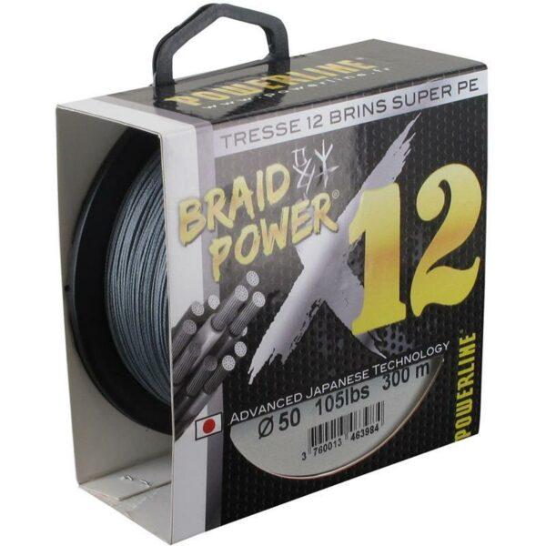 Tresse Braid Power 12 Brins Grise 50/100 300m Powerline